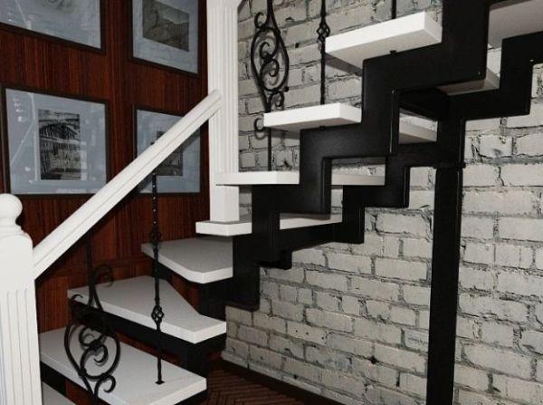 Лестница на двойном усиленном косоуре Г-образная (3) фото 5