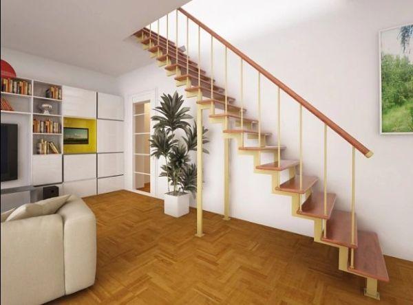 Лестница на двойном усиленном косоуре прямая фото 7