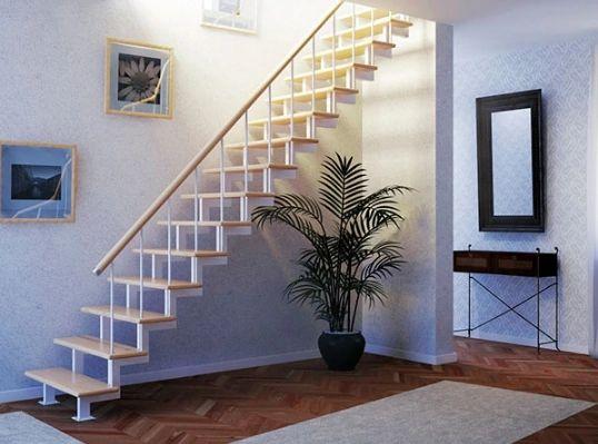 Лестница на двойном усиленном косоуре прямая фото 6