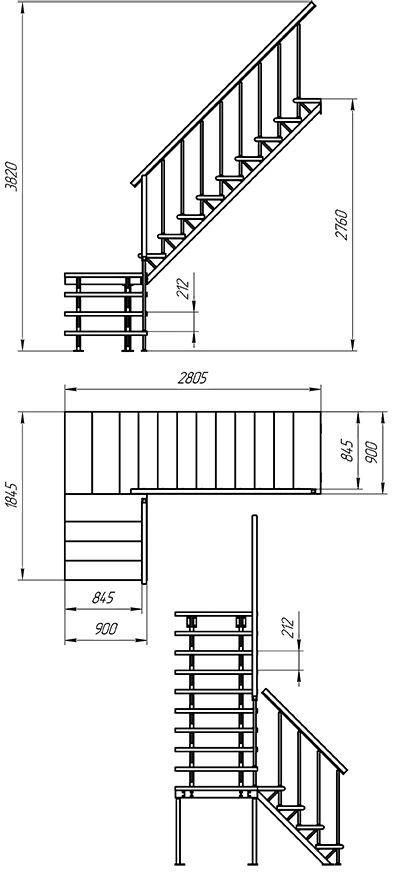 Лестница на стальном каркасе ЛЕС-05 фото 1