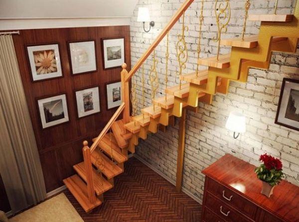 Лестница на двойном усиленном косоуре Г-образная (3) фото 3