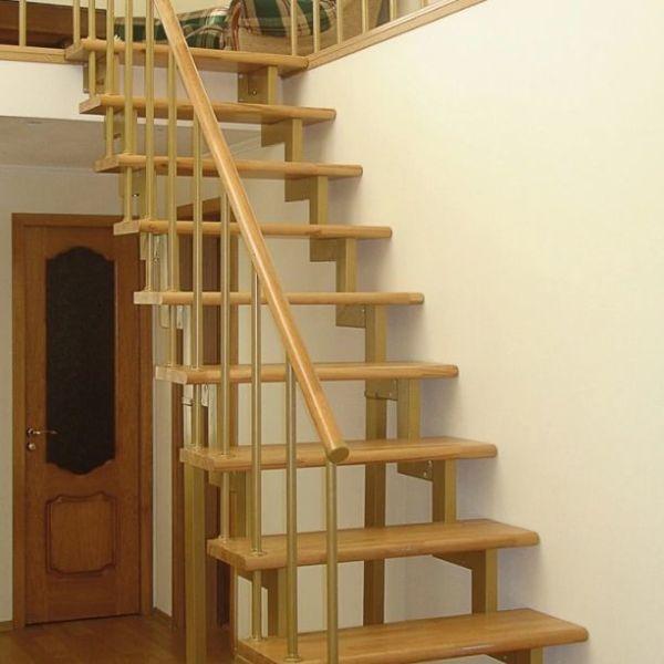 Лестница на двойном усиленном косоуре прямая фото 5