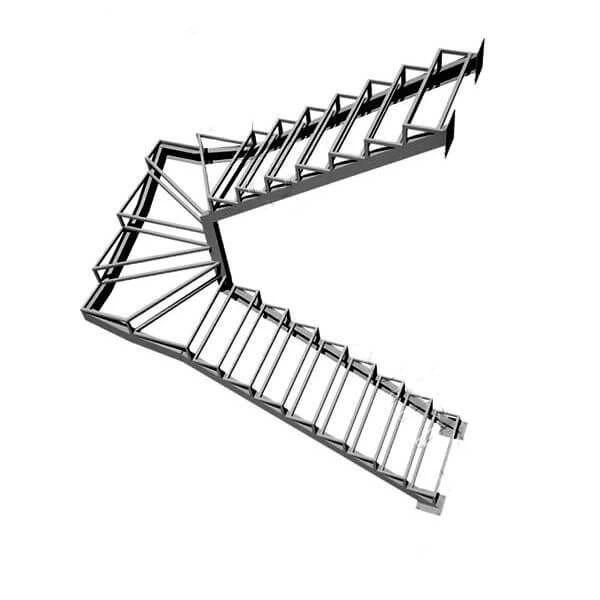 Каркас для лестницы П-образной с забежными ступенями в Иркутске