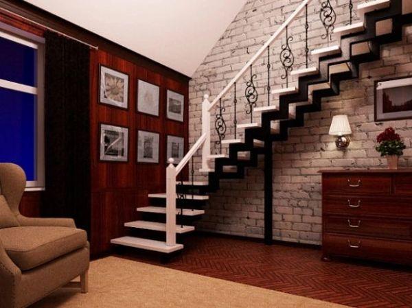 Лестница на двойном усиленном косоуре Г-образная (3) фото 2