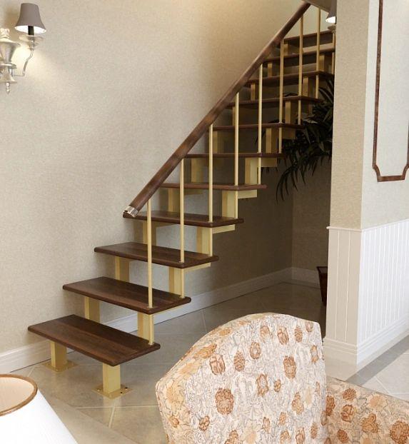 Лестница на двойном усиленном косоуре прямая фото 4