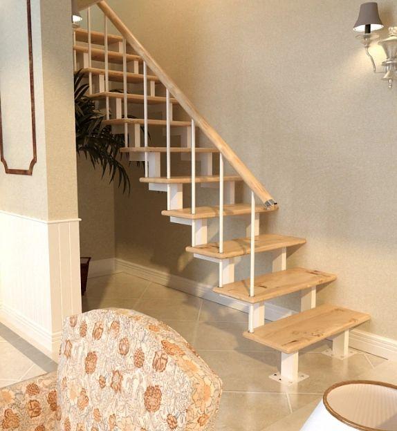 Лестница на двойном усиленном косоуре прямая фото 3