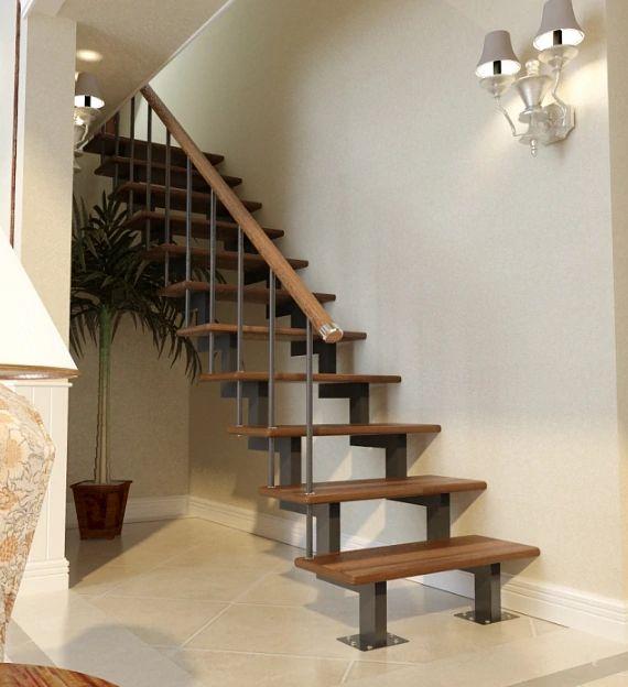 Лестница на двойном усиленном косоуре прямая фото 2
