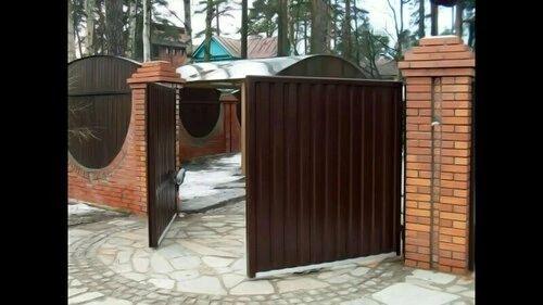 Распашные ворота из профлиста 4