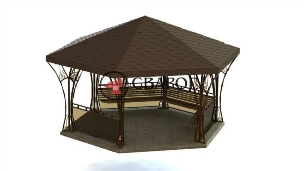 Беседка шестиугольная с ковкой и лавками 3 на 3 метра