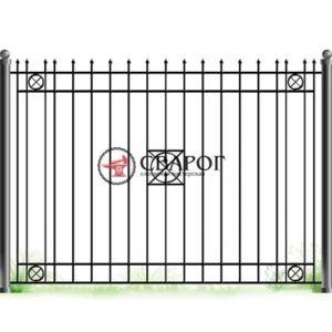 Кованный забор с кругами и различными пиками А3140 вариант 1