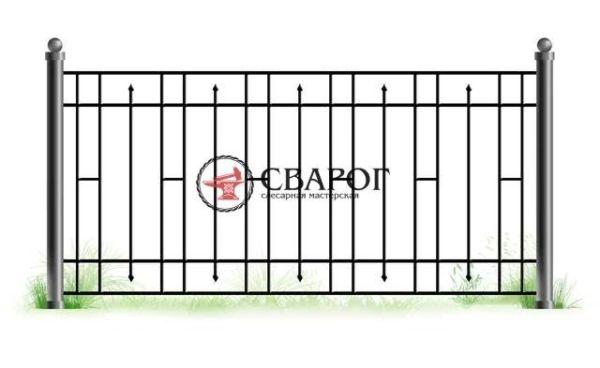 Решетчатый забор с коваными пиками А3170 вариант 2