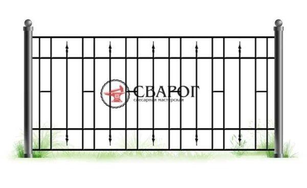 Решетчатый забор с коваными пиками А3170 вариант 3