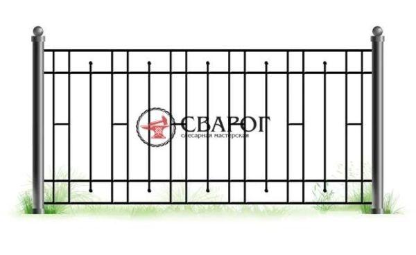 Решетчатый забор с коваными пиками А3170 вариант 5