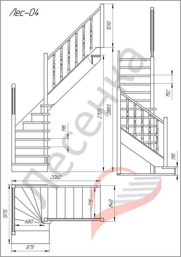 Деревянная межэтажная лестница ЛЕС-04 схема