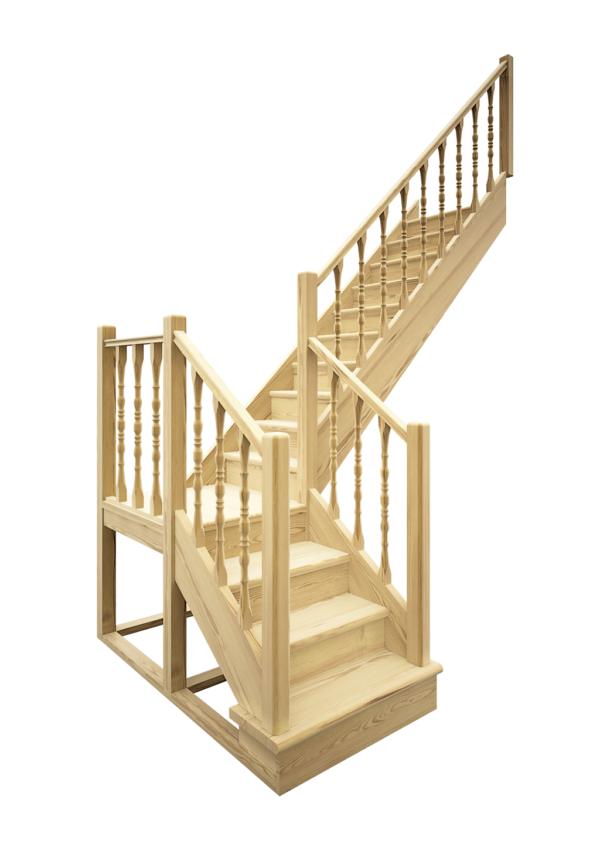 Деревянная межэтажная лестница ЛЕС-04 визуализация