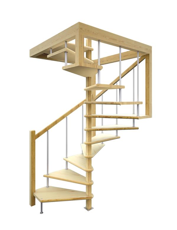 Деревянная межэтажная лестница ЛЕС-10 визуализация