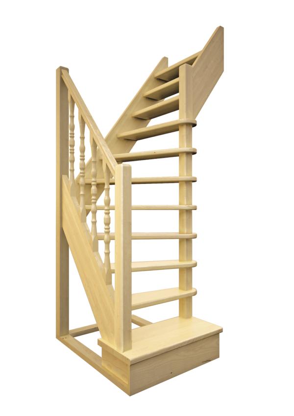 Деревянная межэтажная лестница ЛЕС-91 визуализация