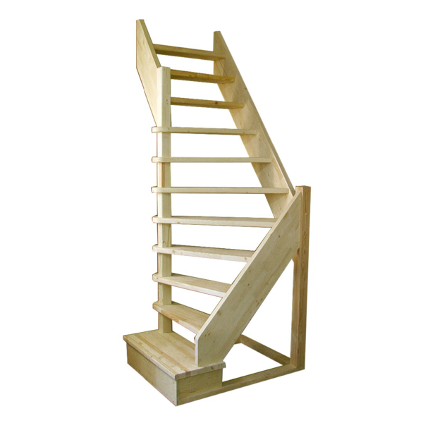 Деревянная межэтажная лестница ЛЕС-92 у визуализация
