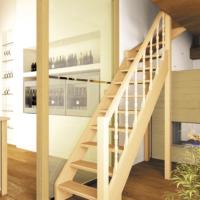 Деревянная межэтажная лестница Лес-715 фото