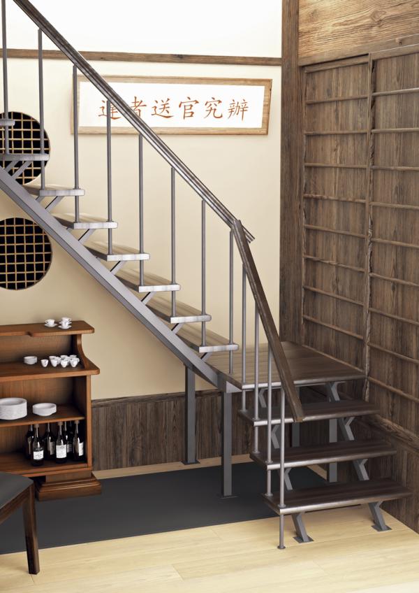 Комбинированная межэтажная лестница ЛЕС-05-3 (поворот 90°, h 3 м) фото