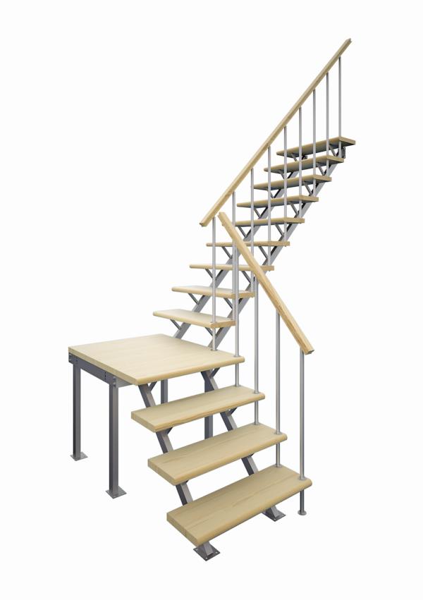 Комбинированная межэтажная лестница ЛЕС-05-3 (поворот 90°, h 3 м) визуализация
