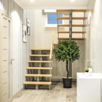 Модульная лестница комфорт (с поворотом на 180 градусов и площадками) фото