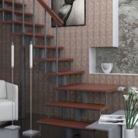 Модульная лестница статус (с поворотом 90 градусов с площадкой) фото