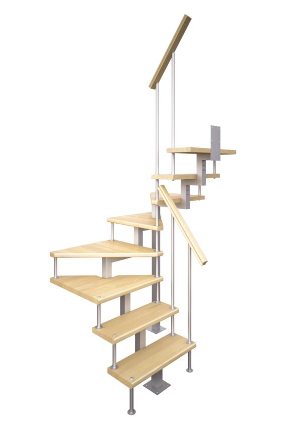 Модульная малогабаритная лестница эксклюзив (c поворотом на 180 градусов) визуализация