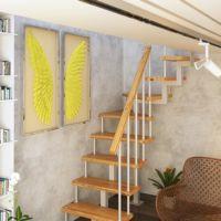 Модульная малогабаритная лестница компакт (с поворотом 90 градусов) фото